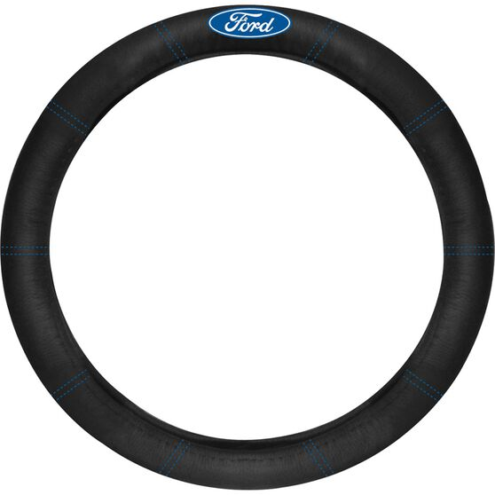 Ford Steering Wheel Cover - Leather, Black, , scanz_hi-res