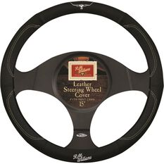 R.M.Williams Steering Wheel Cover - Leather, Black, 380mm diameter, , scanz_hi-res