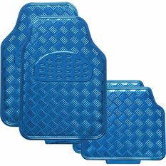 SCA Checkerplate Car Floor Mats - PVC, Blue, Set of 4, , scanz_hi-res
