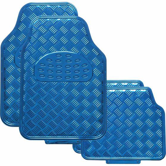 SCA Checkerplate Car Floor Mats - PVC, Blue, Set of 4, , scanz_hi-res