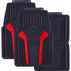 SCA Carbon Fibre Car Floor Mats - Rubber Red Set of 4, , scanz_hi-res
