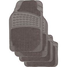 SCA Combo Car Floor Mats - Carpet / Rubber, Grey, Set of 4, , scanz_hi-res