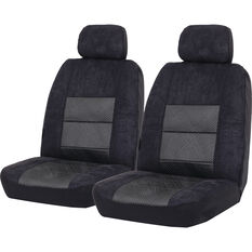 SCA Premium Jacquard and Velour Seat Covers - Black Adjustable Headrest size 30 Front Pair Airbag Compatible, , scanz_hi-res