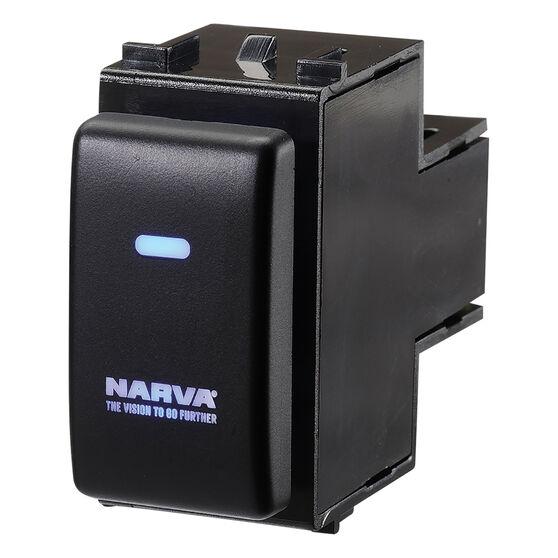 Narva OE Style Switch - Suits Nissan Pathfinder R51, Navara D40, Patrol GU4-7 & Y61 Series, Blank Push On/Off, Blue LED, 63372BL, , scanz_hi-res