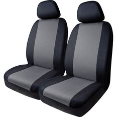 SCA Essentials Seat Covers - Black / Charcoal, Adjustable Headrests, Front Pair, , scanz_hi-res