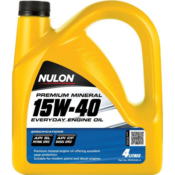Nulon Premium Mineral Everyday Engine Oil - 15W-40, 4 Litre, , scanz_hi-res
