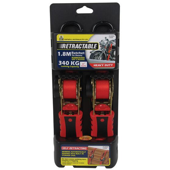Ratchet Tiedown - Retractable, 1.8m, 340kg, 2 Pack, , scanz_hi-res