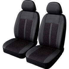 SCA Premium Jacquard & Leather Look Seat Covers - Black/Red Adjustable Headrests Size 30 Front Pair Airbag Compatible, , scanz_hi-res