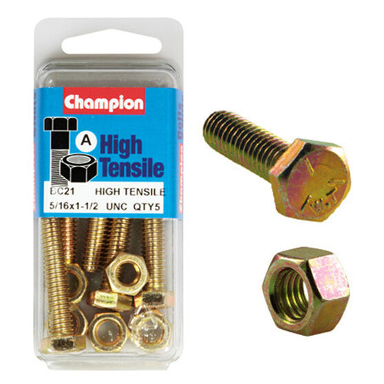 Champion High Tensile Bolts and Nuts - UNC 1-1 / 2inch X 5 / 16inch, , scanz_hi-res