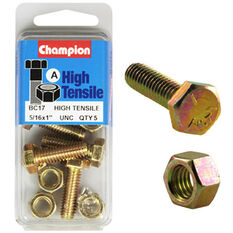 Champion High Tensile Bolts and Nuts - UNC 1inch X 5 / 16inch, , scanz_hi-res