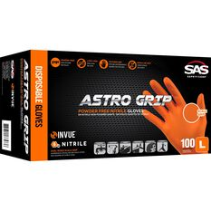 SAS Astro-Grip Nitrile Gloves - Orange, Large, 100 Pack, , scanz_hi-res