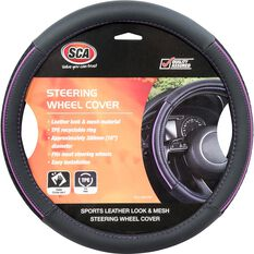 SCA Steering Wheel Cover - PU and Mesh, Black/Purple, 380mm diameter, , scanz_hi-res