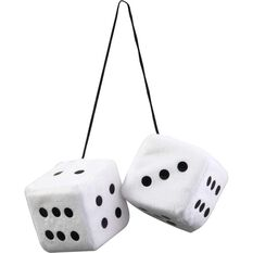 SCA Fluffy Dice - Black with White Dots or White with Black Dots, , scanz_hi-res