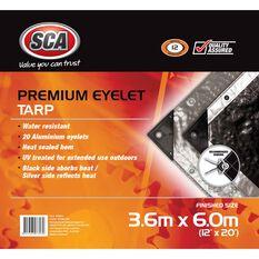 SCA Premium Poly Tarp - 3.6m X 6.0m (12 X 20), 185GSM, Silver, , scanz_hi-res