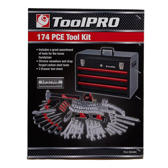 ToolPRO Tool Kit - 3 Drawer Chest, 174 Piece, , scanz_hi-res