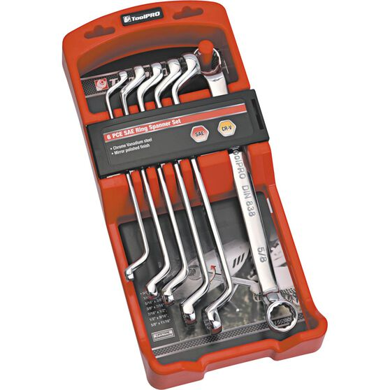 ToolPRO Spanner Set Double Ring End SAE 6 Piece, , scanz_hi-res