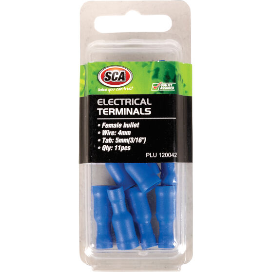 SCA Electrical Terminals - Female Bullet, Blue, 5mm, 11 Pack, , scanz_hi-res