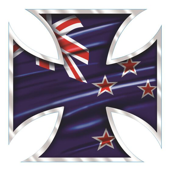 Hot Stuff Sticker - NZ Iron Cross, Chrome, , scanz_hi-res