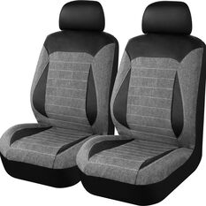 SCA PU Leather Look & Linen Look Seat Covers - Black/Grey Adjustable Headrests Size 30 Airbag Compatible, , scanz_hi-res