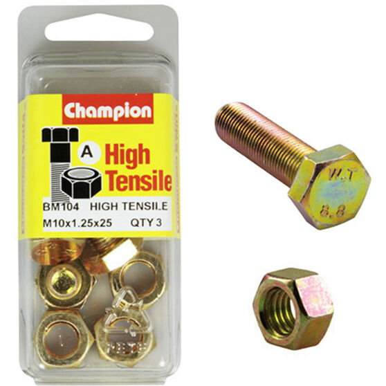 Champion High Tensile Bolts and Nuts - M10 X 25, , scanz_hi-res