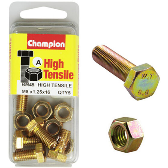 Champion High Tensile Bolts and Nuts - M8 X 16, , scanz_hi-res