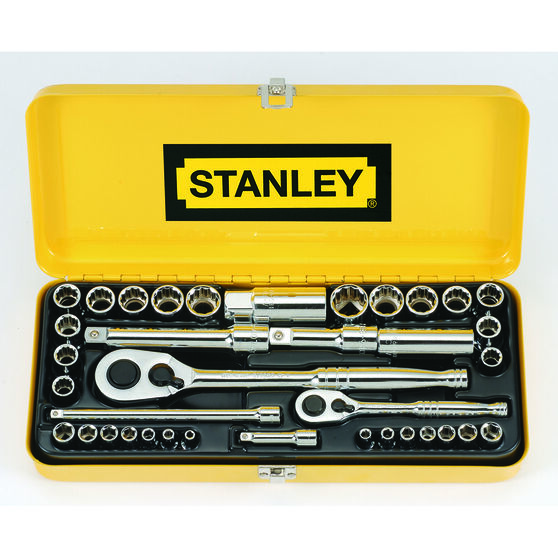 Stanley Socket Set - 1 / 4 inch and 1 / 2 inch Drive, Metric / Imperial, 37 Piece, , scanz_hi-res