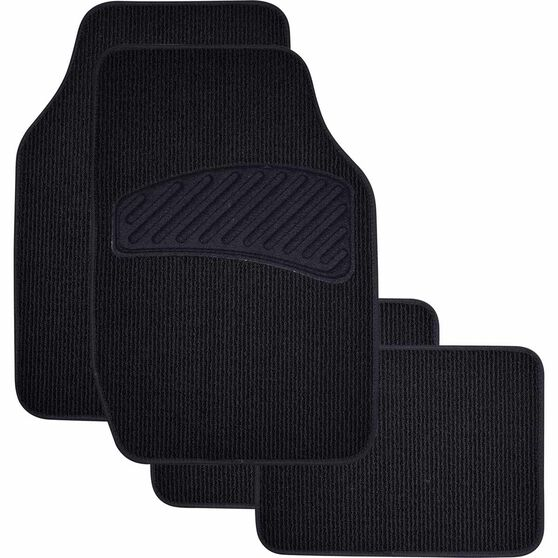 SCA Loop Pile Floor Mats - Carpet, Black, Set of 4, , scanz_hi-res