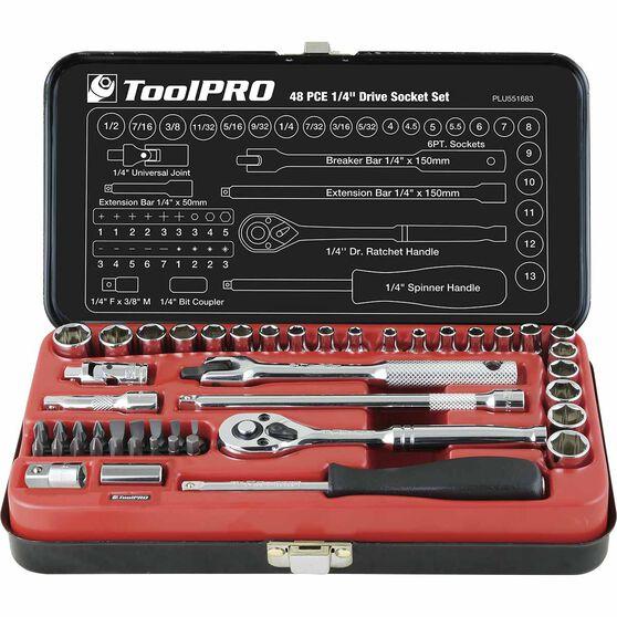 "ToolPRO Socket Set 1/4"" Drive Metric/SAE 48 Piece, , scanz_hi-res"