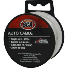 SCA Auto Cable - 10 AMP, 3mm, 7m, White, , scanz_hi-res