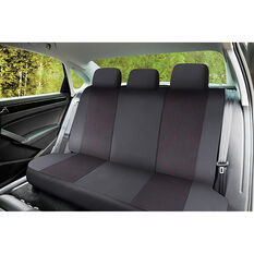 SCA Premium Jacquard & Leather Look Seat Covers - Black/Red Adjustable Zips Rear Seat Size 06H, , scanz_hi-res