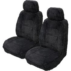 Silver Cloud Sheepskin Seat Covers - Black, Adjustable Headrests, Size 30, Front Pair, Airbag Compatible Black, Black, scanz_hi-res
