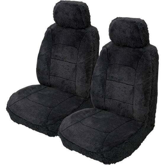 Silver Cloud Sheepskin Seat Covers - Black, Adjustable Headrests, Size 30, Front Pair, Airbag Compatible, , scanz_hi-res