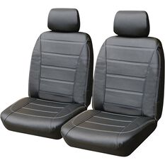 SCA Leather Look Seat Covers - Black and White Adjustable Headrests Size 30 Front Pair Airbag Compatible, , scanz_hi-res
