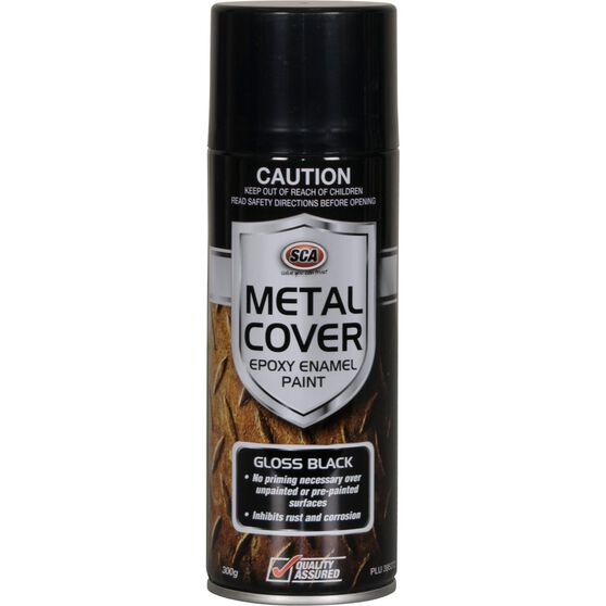 SCA Metal Cover Enamel Rust Paint - Gloss Black, 300g, , scanz_hi-res