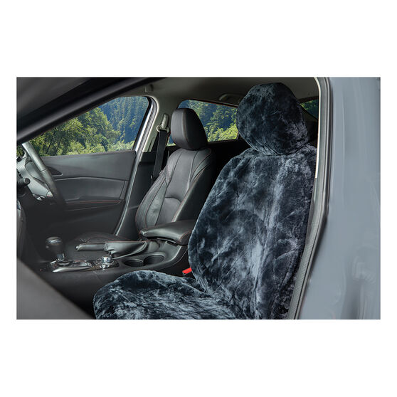 SCA Diamond Cut Sheepskin Seat Cover - Charcoal Adjustable Headrest Size 30 Single Seat Airbag Compatible, , scanz_hi-res
