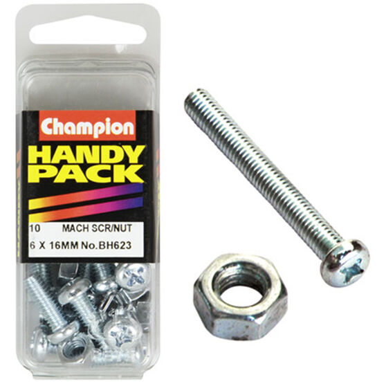 Champion Mach Screws / Nuts - 6mm X 16mm, BH623, Handy Pack, , scanz_hi-res