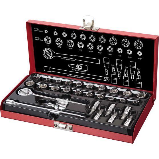 SCA Socket Set - 1 / 4 inch Drive, Metal Tin, 30 Piece, , scanz_hi-res