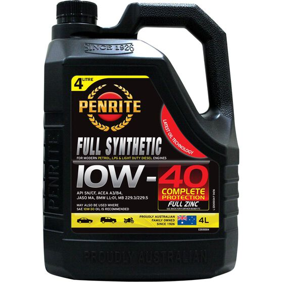 Penrite Full Synthetic Engine Oil - 10W-40 4 Litre, , scanz_hi-res