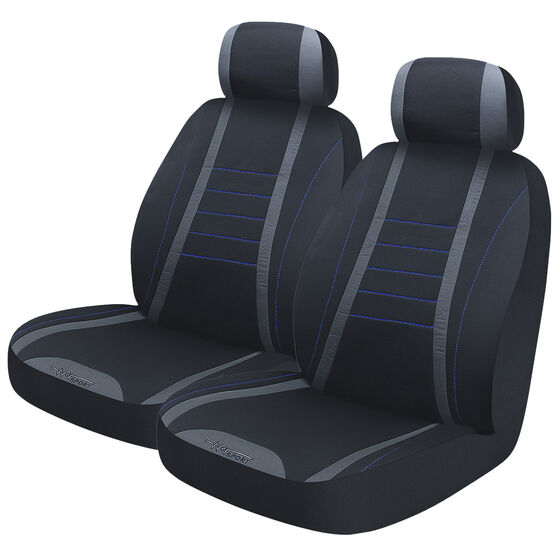 Seat Covers - Black & Blue, Adjustable Headrests, Size 30, Front Pair, Airbag Compatible, , scanz_hi-res