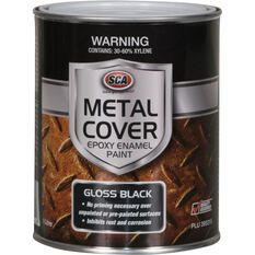 SCA Metal Cover Rust Paint - Enamel, Gloss Black, 1 Litre, , scanz_hi-res