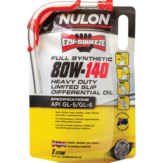 NULON EZY-SQUEEZE Heavy Duty Limited Slip Differential Oil - 80W-140, 1 Litre, , scanz_hi-res