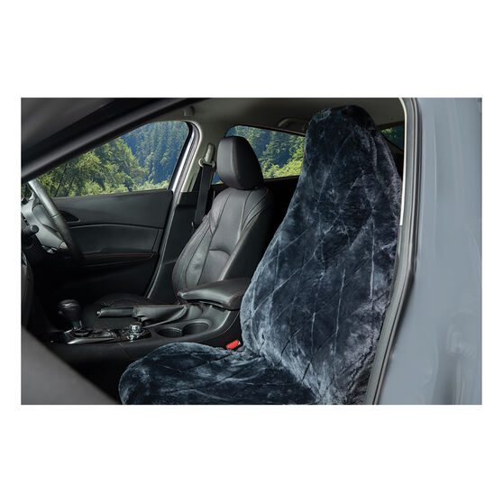 SCA Diamond Cut Sheepskin Seat Cover - Charcoal Built-In Headrest Size 60 Single Seat Airbag Compatible, , scanz_hi-res