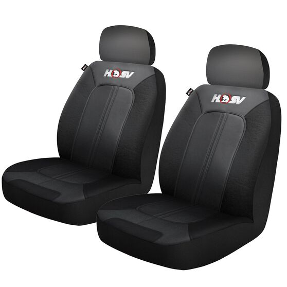 HSV Quest Leather Look Seat Covers - Black/Grey, Adjustable Headrests, Size 30, Front Pair, Airbag Compatible, , scanz_hi-res