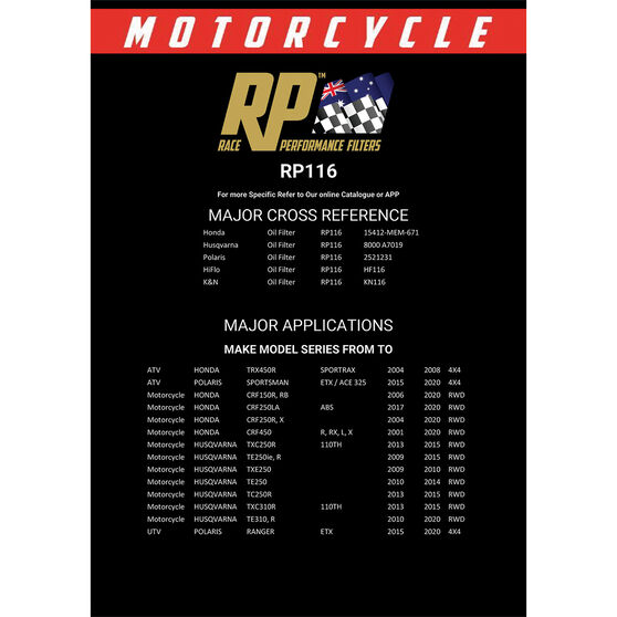 Race Performance Motorcycle Oil Filter RP116, , scanz_hi-res