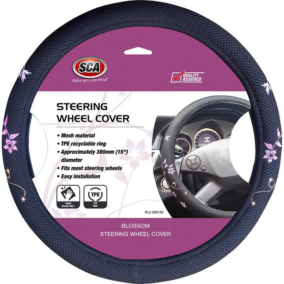 SCA Blossom Steering Wheel Cover - Mesh, Black / Orange / Purple, 380mm diameter, , scanz_hi-res