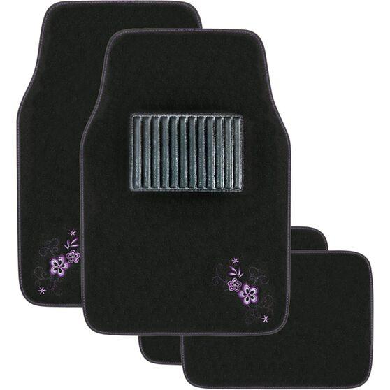 Peach Blossom Car Floor Mats - Carpet, Purple, Set of 4, , scanz_hi-res