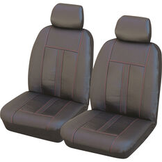 SCA Leather Look Seat Covers - Black and Red Adjustable Headrests Size 30 Front Airbag Pair Compatible, , scanz_hi-res