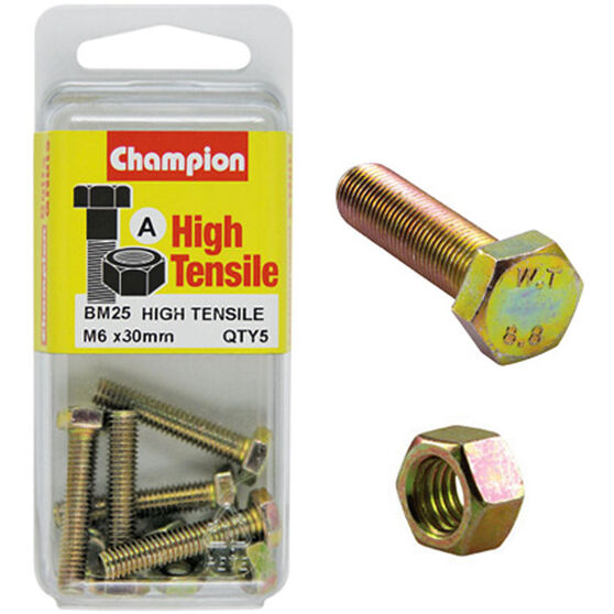 Champion High Tensile Bolts and Nuts - M6 X 30, , scanz_hi-res
