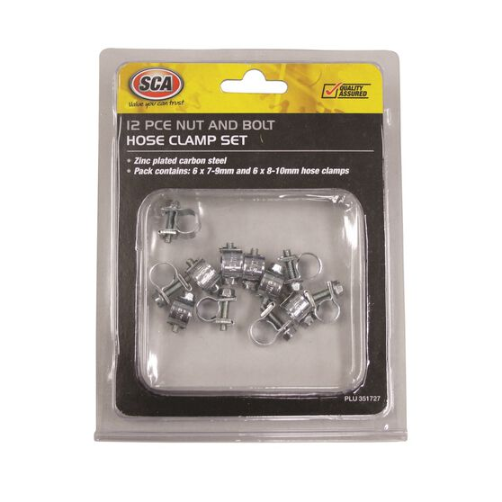 SCA Hose Clamps - Zinc Plated, 12 Pieces, 7-9mm & 8-10mm, , scanz_hi-res