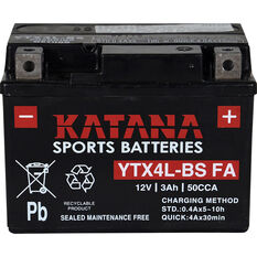 Katana Powersports Battery YTX4L-BS FA, , scanz_hi-res